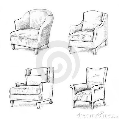 Lovely Simple Couch Drawing
