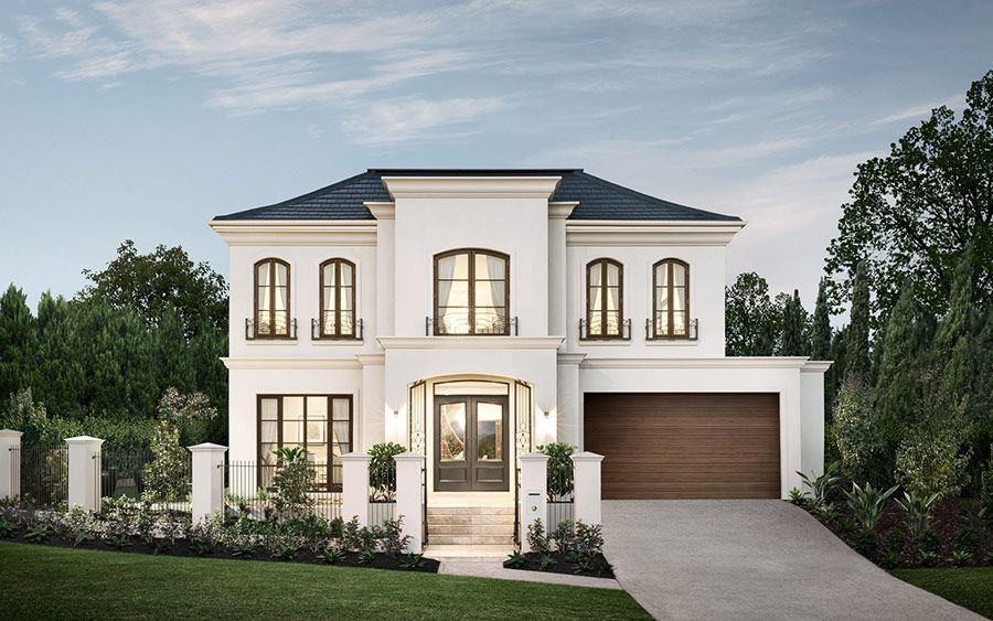 White Stone, Black Windows, Roof And Stained Wood Doors Dream Houses,  Luxury Houses