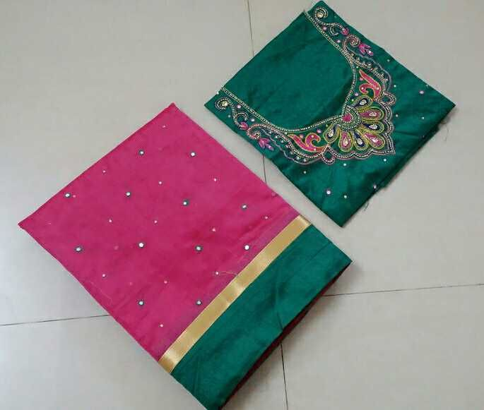 ce078e1f5d5a1 Kota cotton mix silk sarees with mirror work and patch border with Muggam work  blouse
