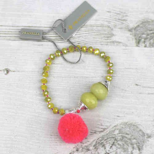 Pranella Lime Beaded Pom Pom Bracelet Available At Pink Cadillac Boutique Instore And Online www.pinkcadillac.co.uk