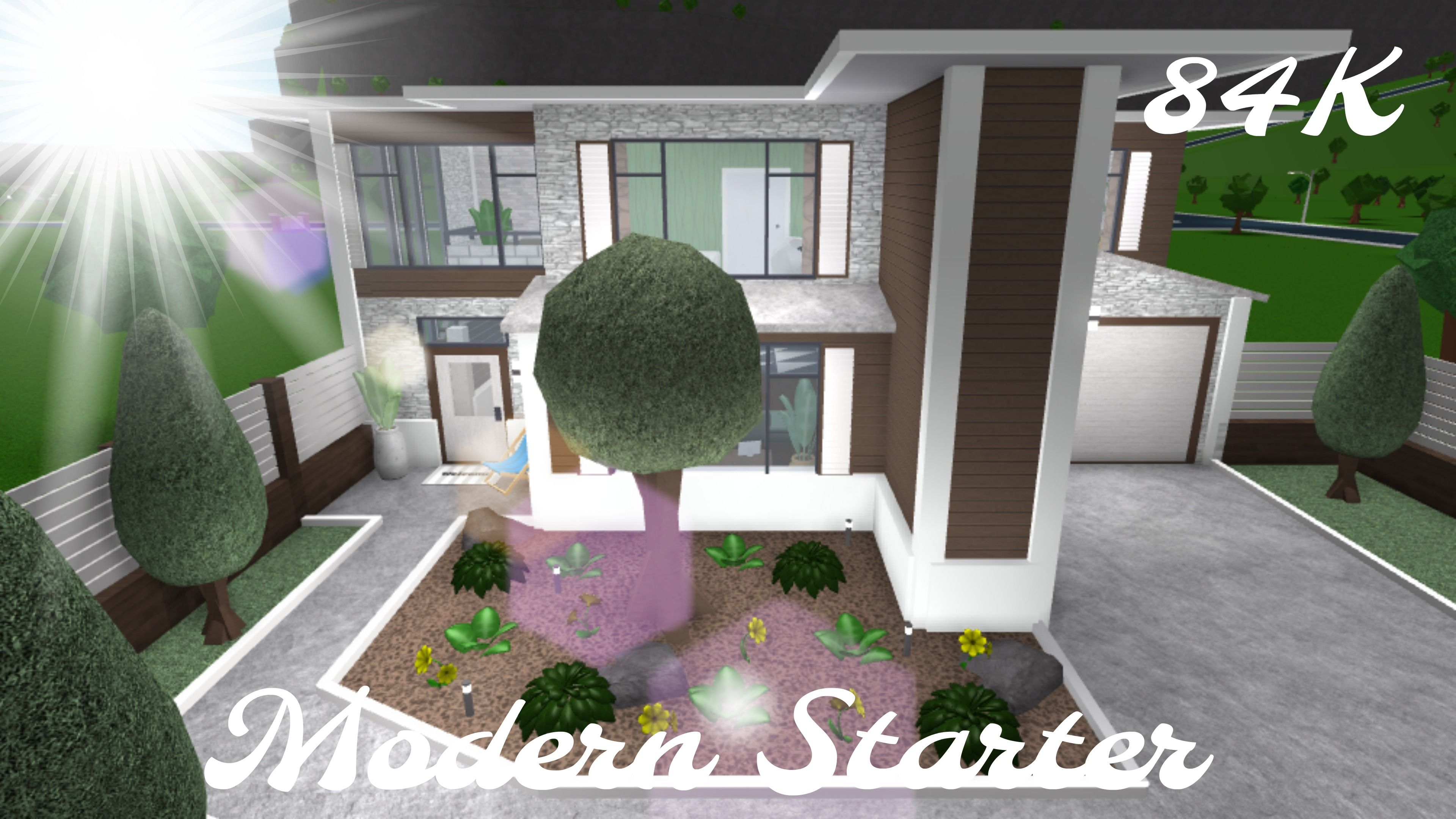Roblox Bloxburg Modern Family Home 99k Modern Starter House Plans With Pictures Two Story House Design Modern Family House