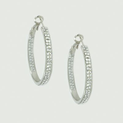 Silver tone and Pave Hoop Earrings