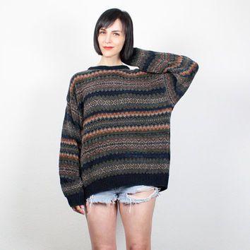 Vintage Boyfriend Sweater 1990s Soft Grunge Striped Pullover 90s Jumper  Boho Oversized Sweater Chevron Striped Knit L XL Extra Large XXL cff0cff71