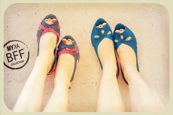 heels shoes women leather shoes peep toe shoes blue by MYKAshop