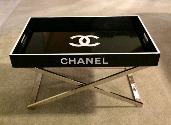 CHANEL Large Black Lacquer Tray Table White By CremedelaCremebyJ, $450.00