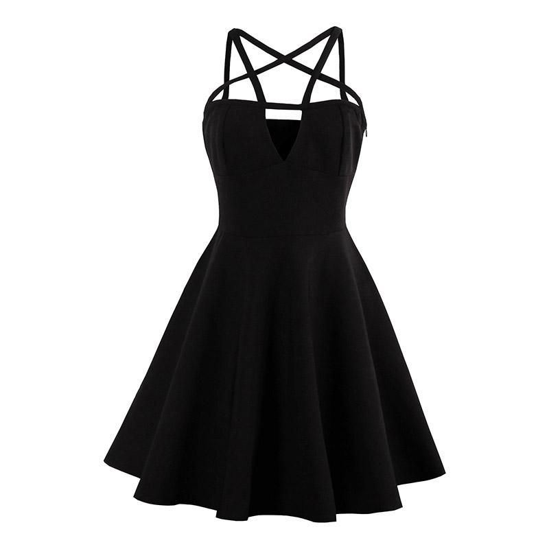 Pentagram Mini Black Party Dress Occult Style #emodresses