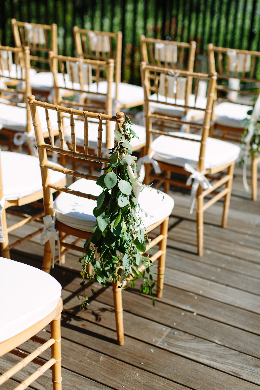 chiavari chairs wedding ceremony rent chair covers in chicago eucalyptus sheath bundle of greenery