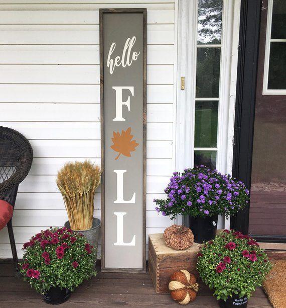 Hello Fall / Fall Wood Sign / Fall Decor / Porch Signs / Pumpkin Signs / Hello Fall Sign / Wood Sign #hellofall