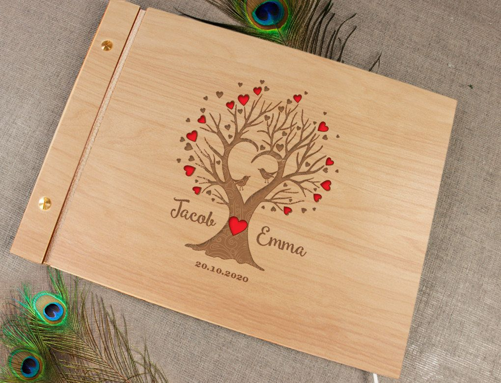 Book colour names - Wooden Wedding Guest Book Laser Cut Tree Guestbook Laser Engraved Names Bride And Groom Many Colours Personalized