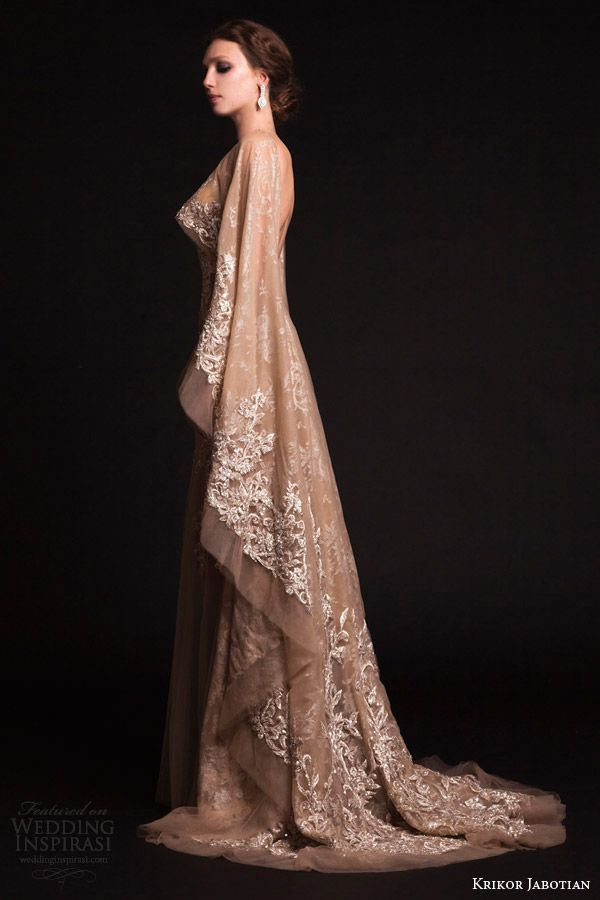 krikor jabotian bridal spring 2015 sheer nude tulle wedding dress cape  sleeves train side view ed8c7137cc5a