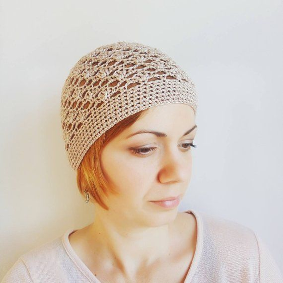 Beige summer beanie Cotton hat Women Summer Hats Sunhats Lace Skull Cap  Chemo Hats Beige Hats for wo abbf5dbdca6
