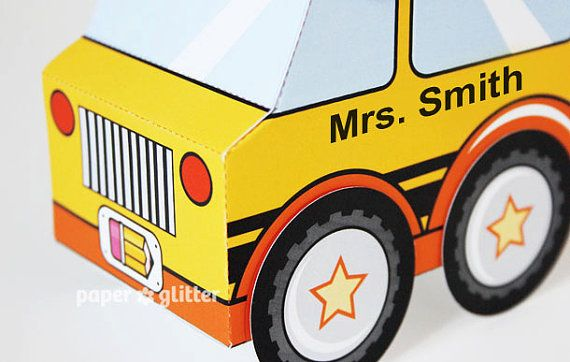 School Bus Favor Box Truck Paper Craft Toy for back to
