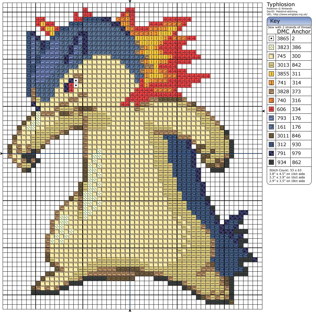 157 - Typhlosion | X Stitch- Pokemon | Pinterest