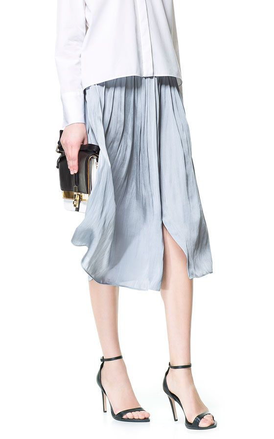 SKIRT WITH CONTRASTING BOX PLEATS - Skirts - Woman | ZARA United States