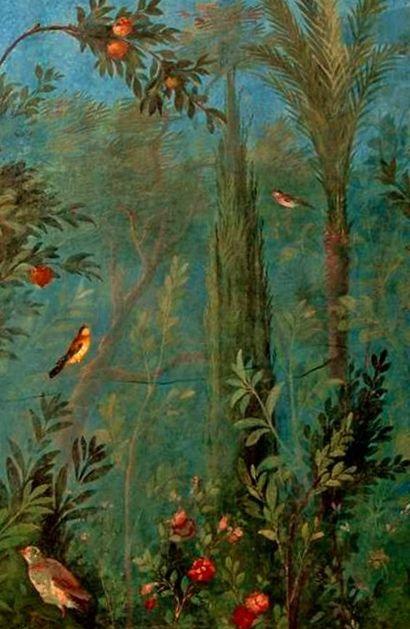 ANCIENT ROMAN VILLA FRESCO PAINTING OF PINE TREE /& BIRDS ART REAL CANVAS PRINT