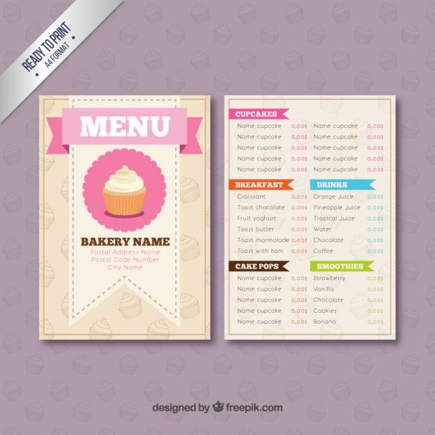 Bakery Menu Template  Free Downloadable Restaurant Menu Templates
