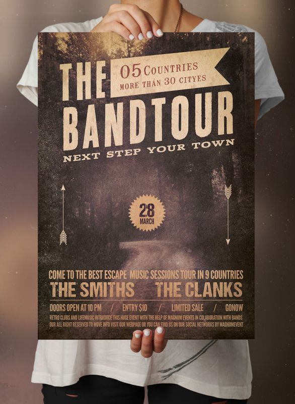 The Band Tour Flyer \/ Poster Template PSD Flyer Templates - band flyer template