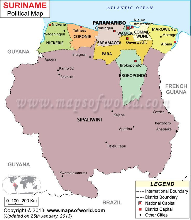 Map of Suriname Suriname Pinterest