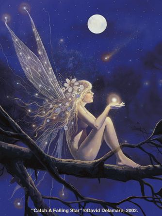 Art: Fantasy (Fairies), Artist: David Delamare, Title: Catching a Falling Star