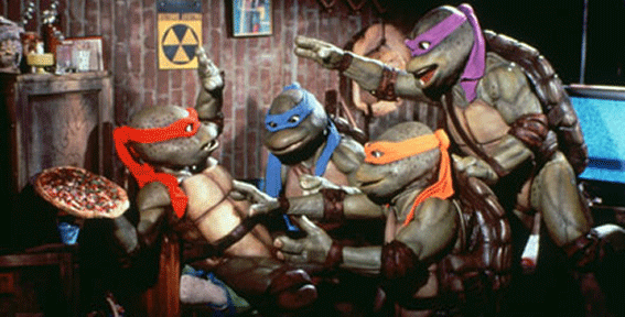 1990's Teenage Mutant Ninja Turtles created by Jim Henson's creative staff. These are the turtles we all remembered more. More children-friendly, lots of pizza, lots of humor, and Cowabunga quotes.