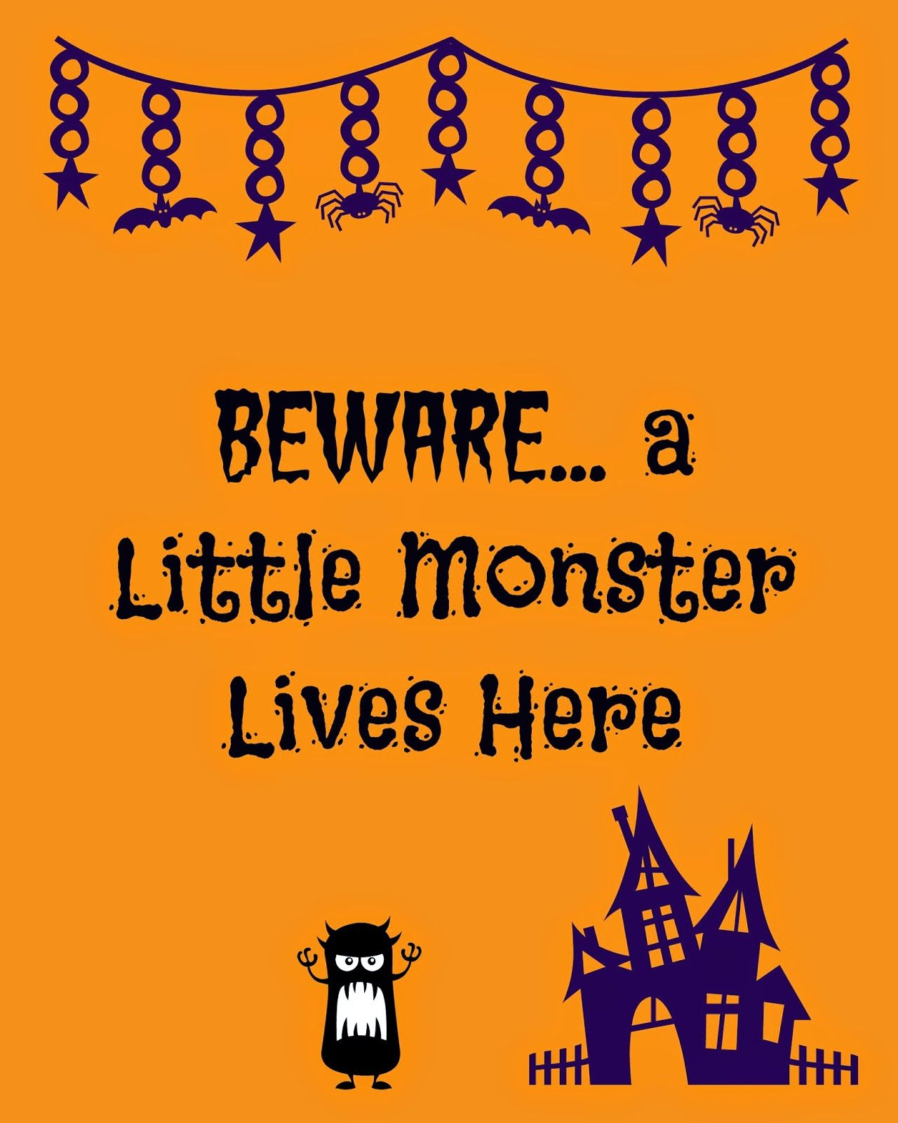 Little Monsters Halloween Sign Free Printable