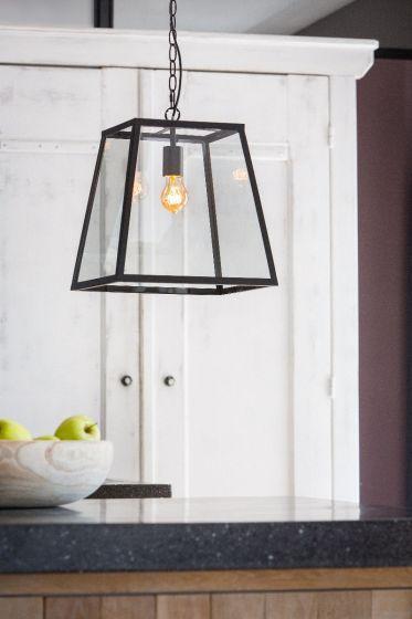 hanglamp saunte glas metaal zwart incl lamp wants needs
