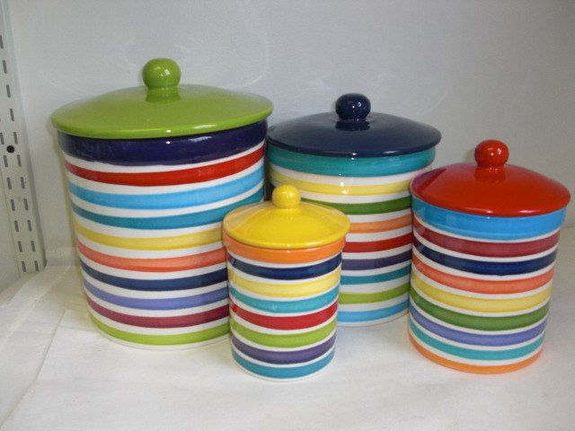 Set of 4 rainbow and white bright stripes ceramic kitchen canisters for the home pinterest - White ceramic canisters for the kitchen ...