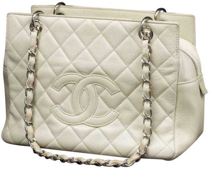 Grand Shopping Leather Handbag Chanel Handbags Chanel Shopping Tote White Shoulder Bags