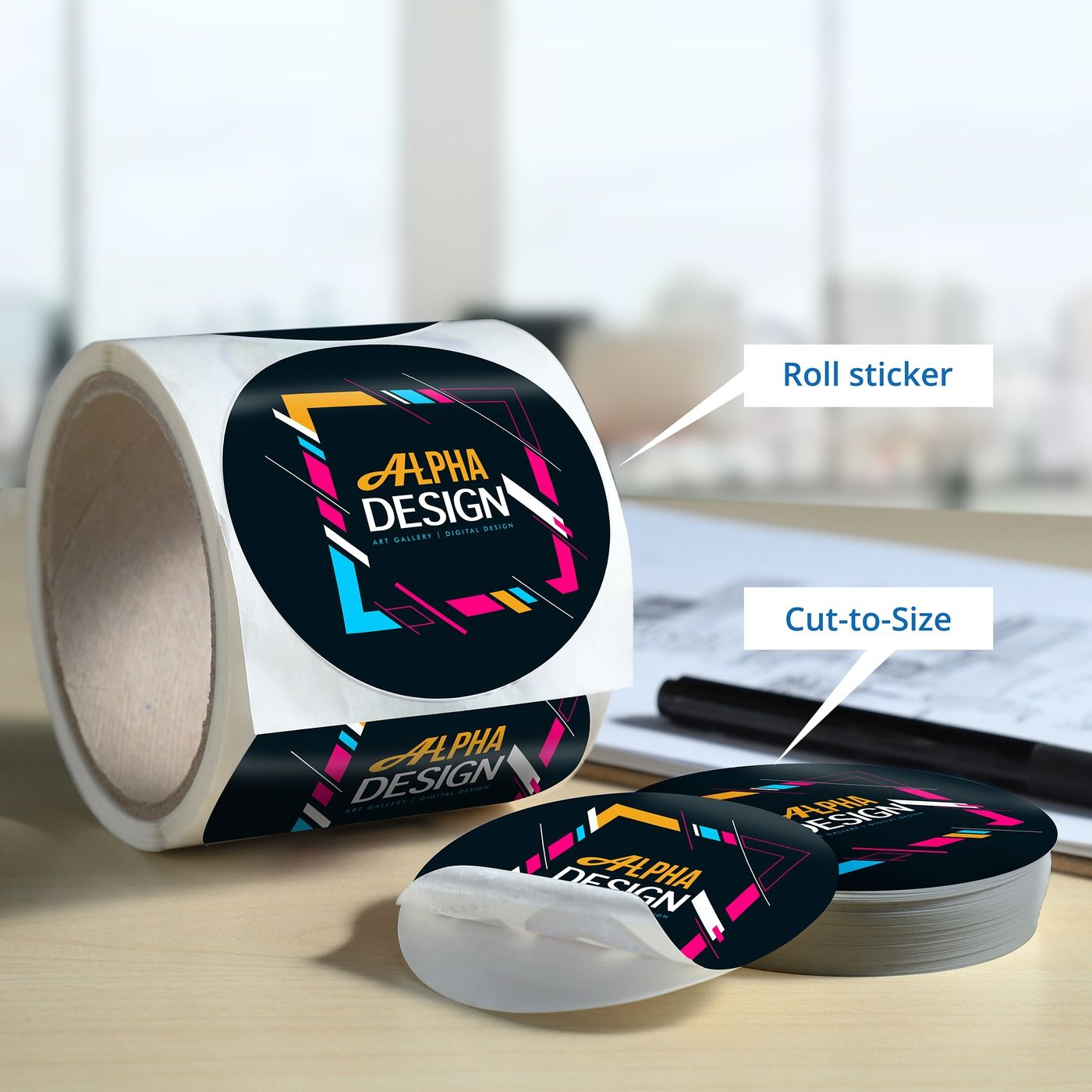 Cut to size and roll custom sticker custom sticker printing custom stickers business branding sticker