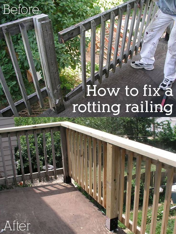 How to replace a rotted wood porch railing porch fences and decking a rotting porch railing or fence can be hazardous and should be repaired asap you solutioingenieria Images