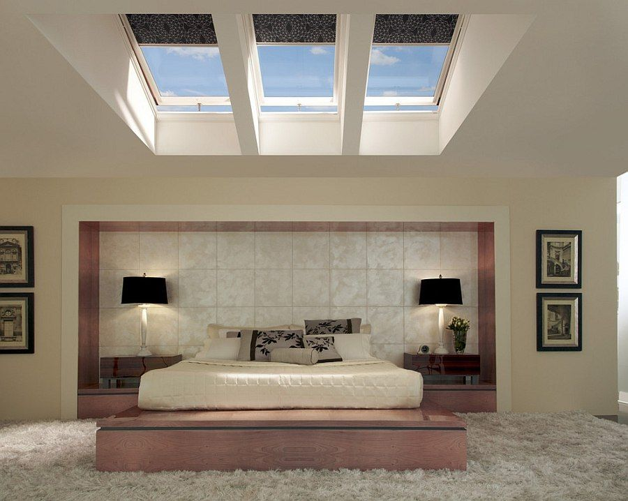 23 Stylish Bedrooms That Bring Home the Beauty of Skylights! is part of Attic bedroom Skylight - With winter taking over the landscape in most parts of the world, we are left searching for new ways that we can usher in some natural warmth while keeping the bedroom cozy and well insulated  While most often we find skylights being used in expansive living rooms and small attics, they can be an equally […]