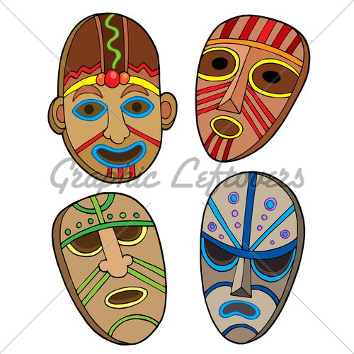 African Masks Designs Tribal Masks Collection Vector