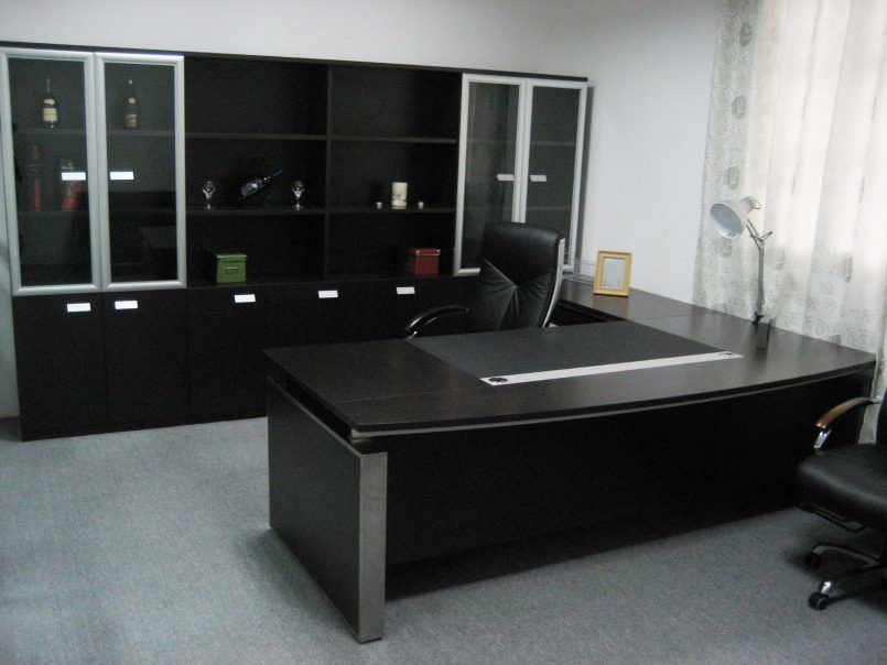 Office Cool Black Theme Of Elegant Office Furniture Designed Using Spacious  Room Concept Equipped With Large
