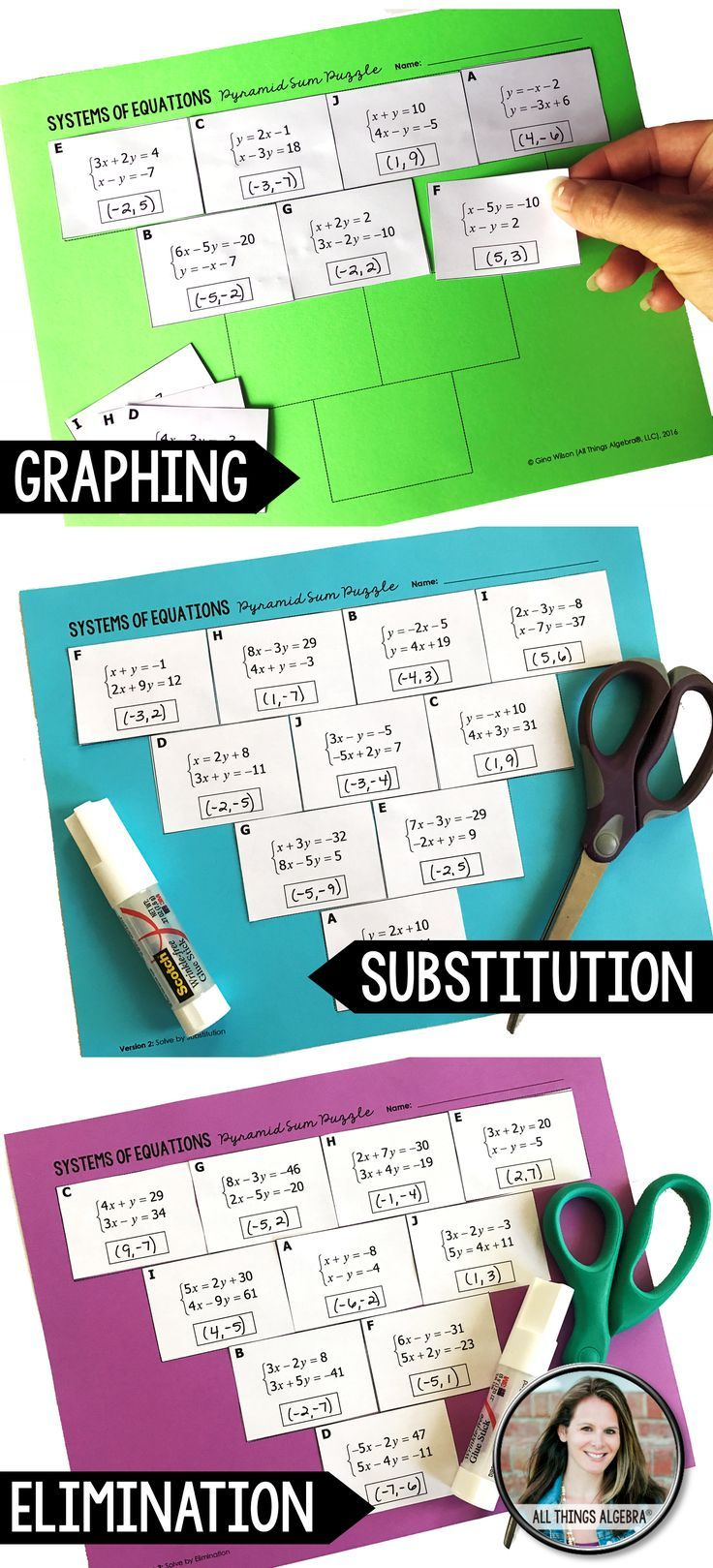 Systems of Equations Pyramid Sum Puzzles (3 puzzles included ...