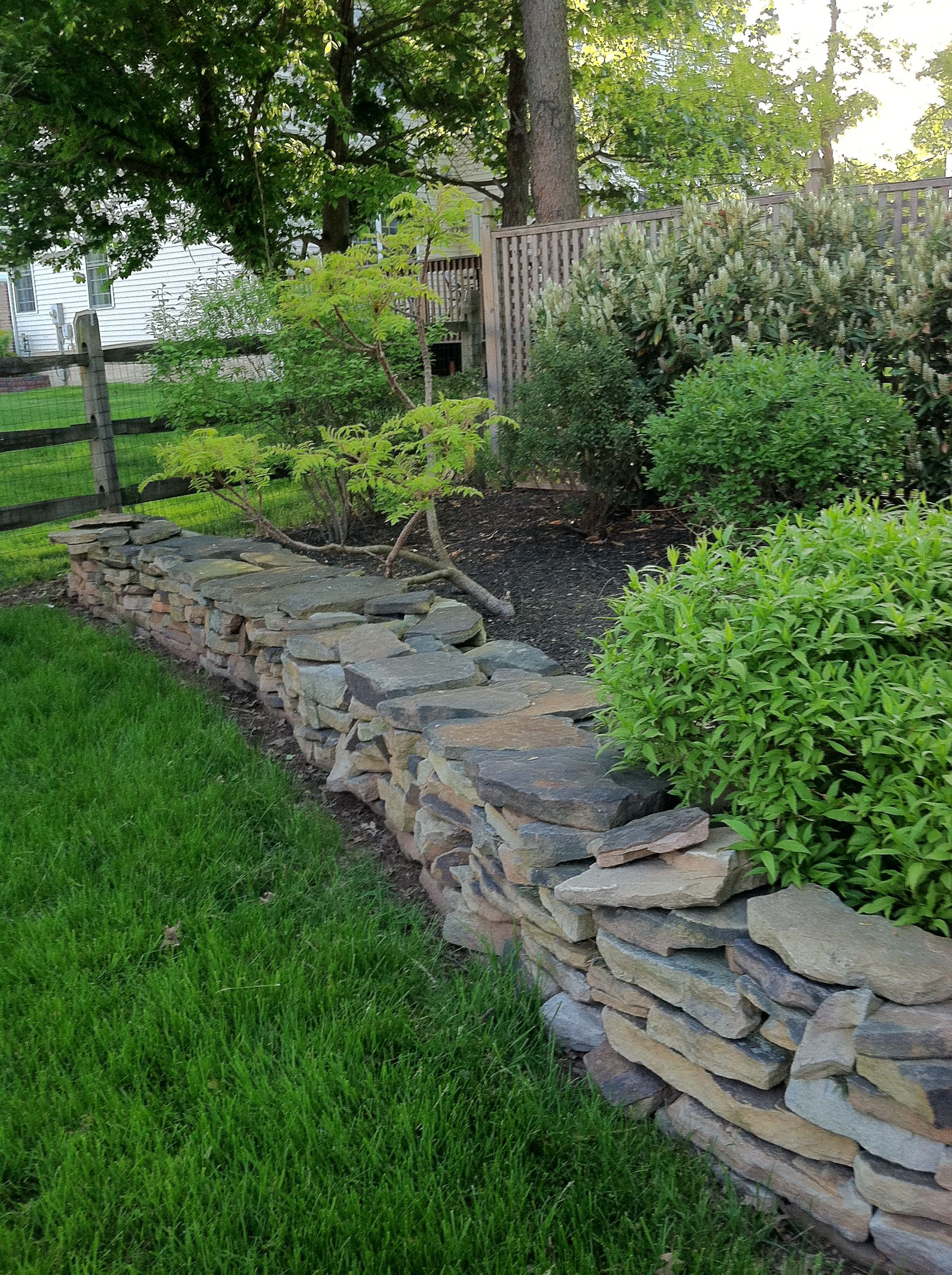 House garden landscape  nice rock wall  dry stack walls  Pinterest  Rock Gardens and