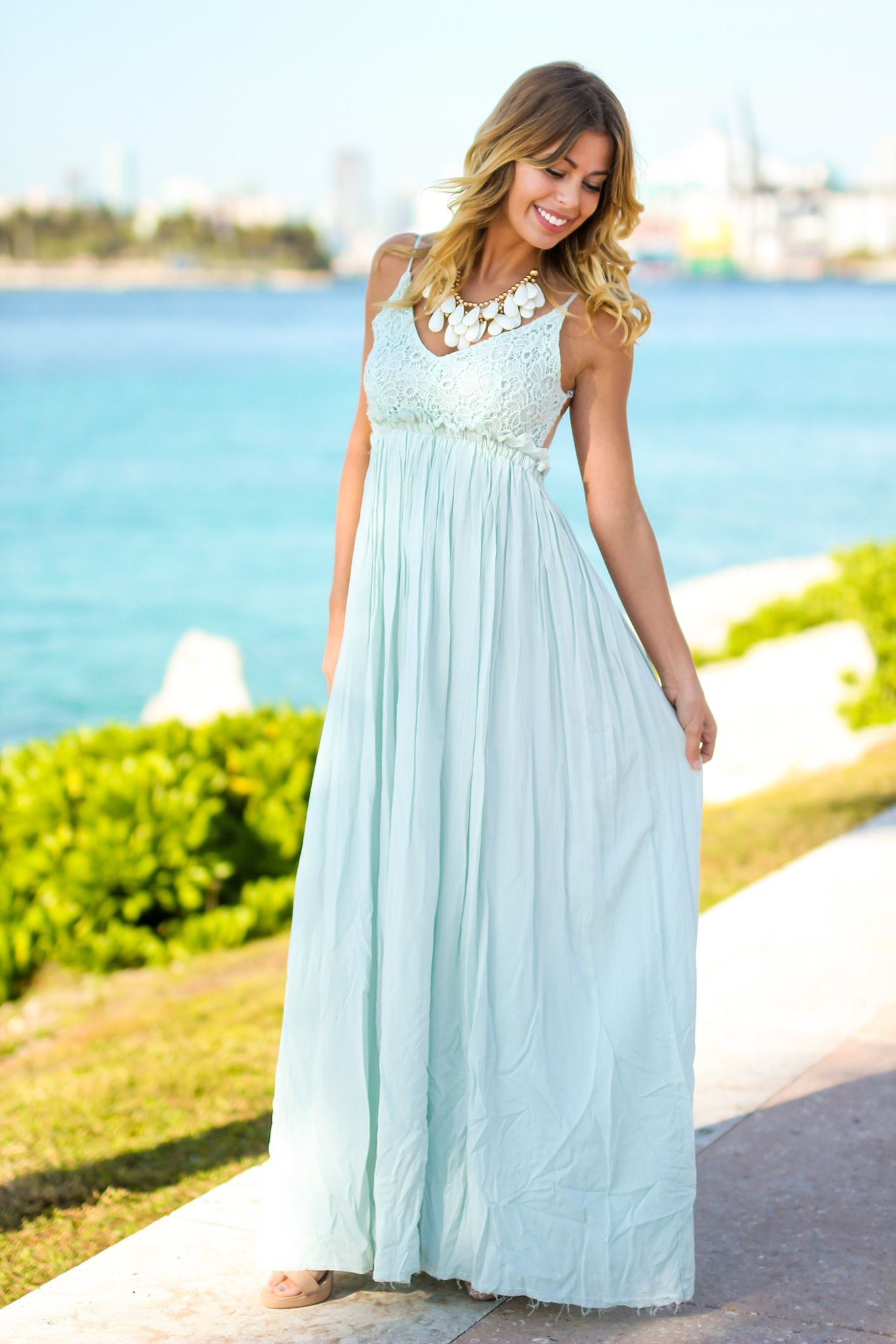 ef64c7f28aa Seafoam Lace Maxi Dress with Open Back and Frayed Hem in 2019 ...