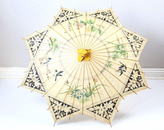 Sonnenschirm Asiatisch vintage sunshade parasol paper shade wooden handle painted