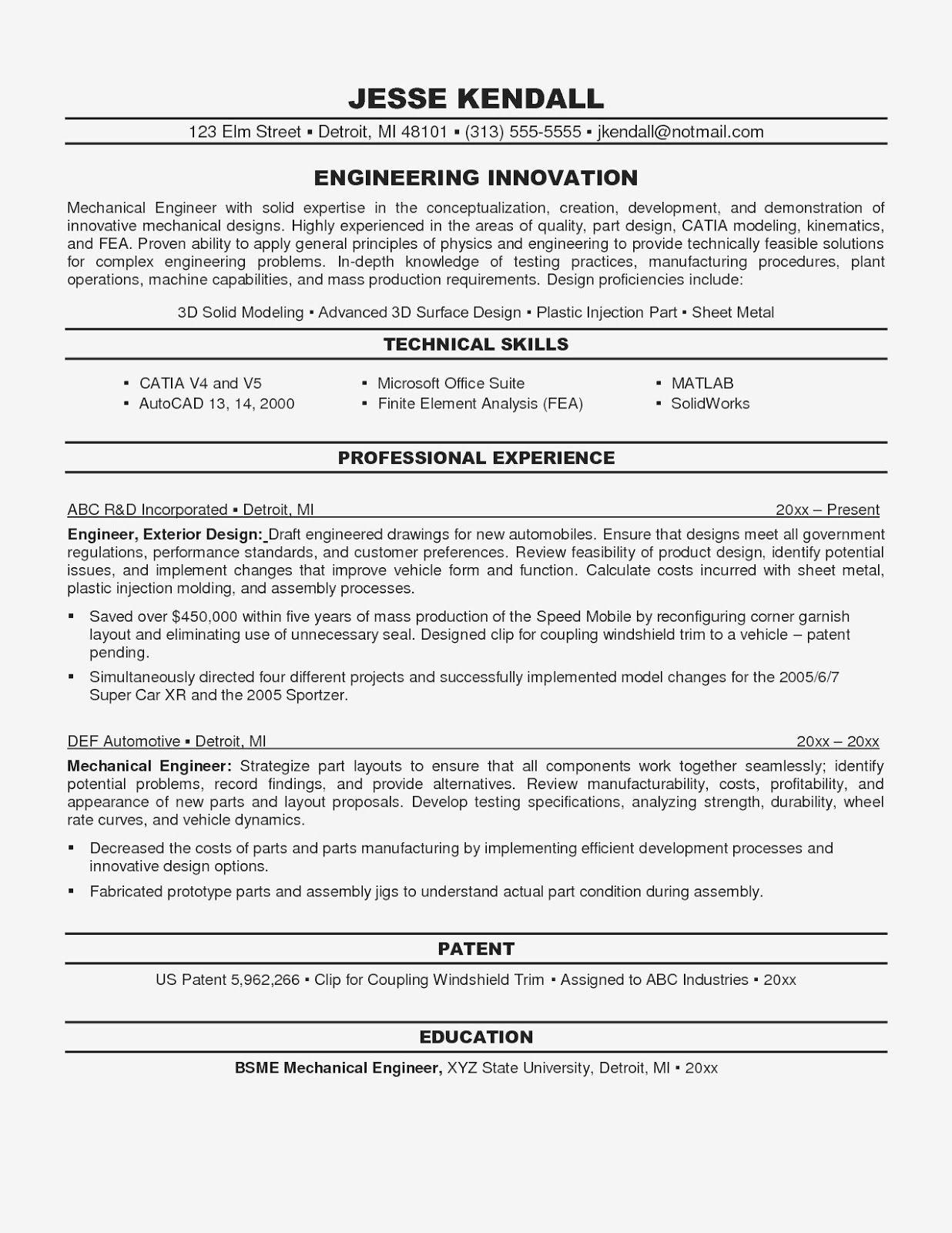 Mechanical Engineering CV Format, mechanical engineering