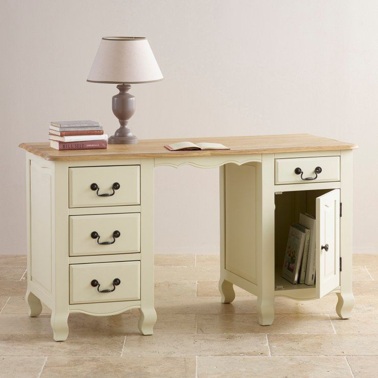 Bella Brushed Oak And Painted Computer Desk This Attractive Desk Will Provide Ample Storage For Your Home Office Home Office Storage Oak Furniture Land Desk