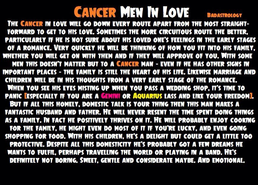 What sign is compatible with cancer male