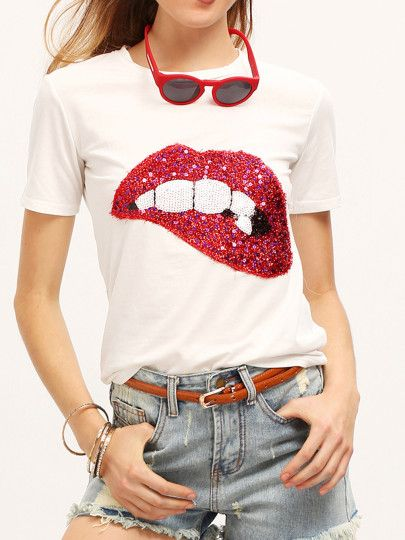 d5a07dcfc33 Sequined Sparkely Glittery Cozy Costume Lip Print T-shirt -SheIn(Sheinside)