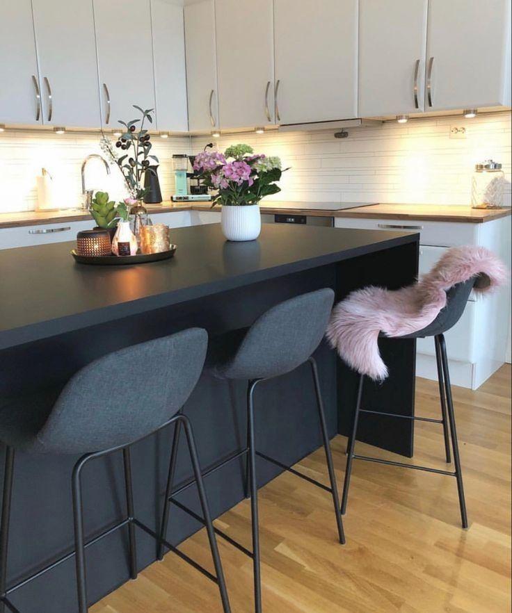 lovely kitchen design black woodenflooring pink white