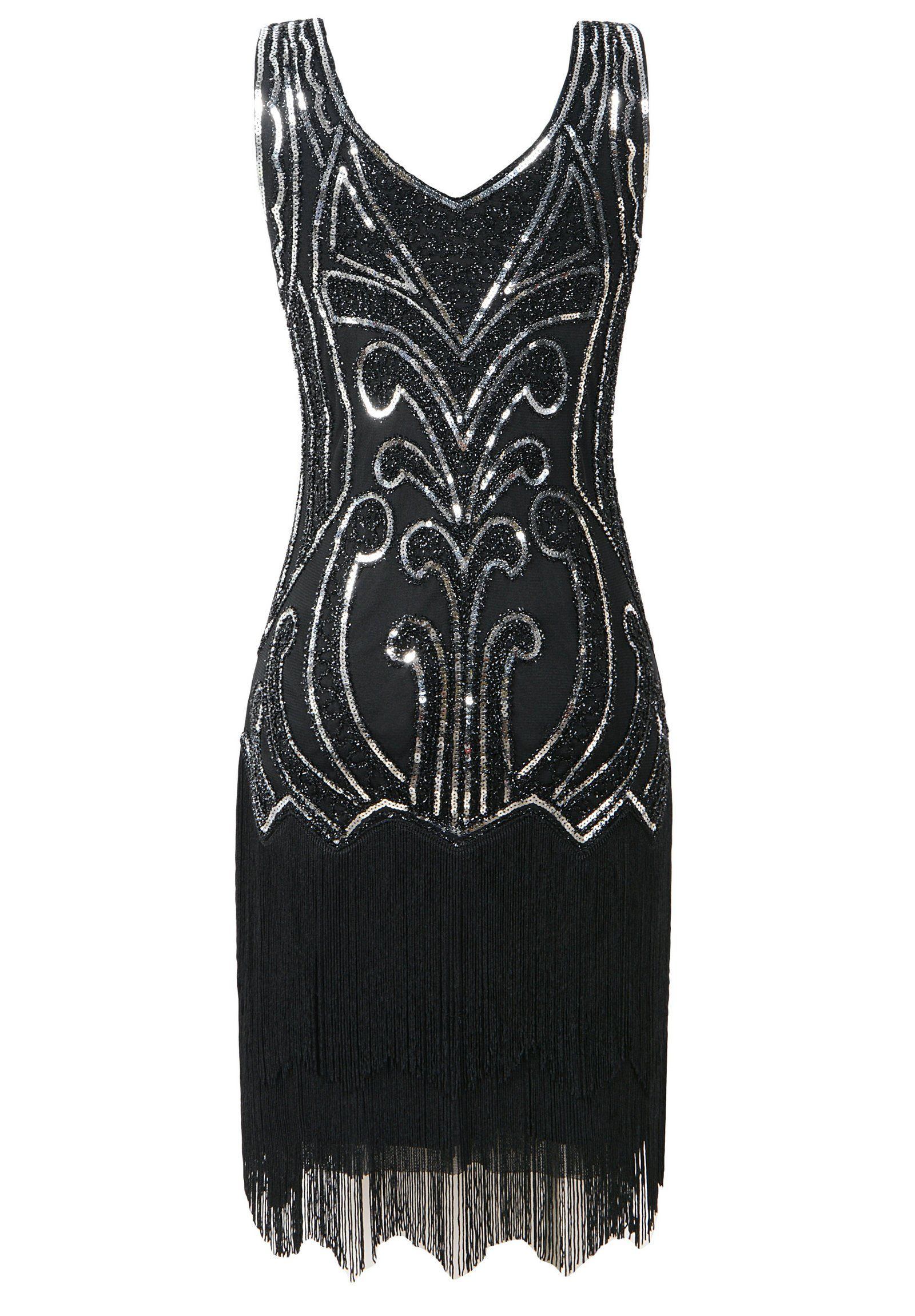 91e9e4929ee Mesisan Womens 1920s Flapper Dresses V Neck Vintage Gatsby Bead Sequin  Fringed Great Gatsby DressBlack XL   Click image for more details.