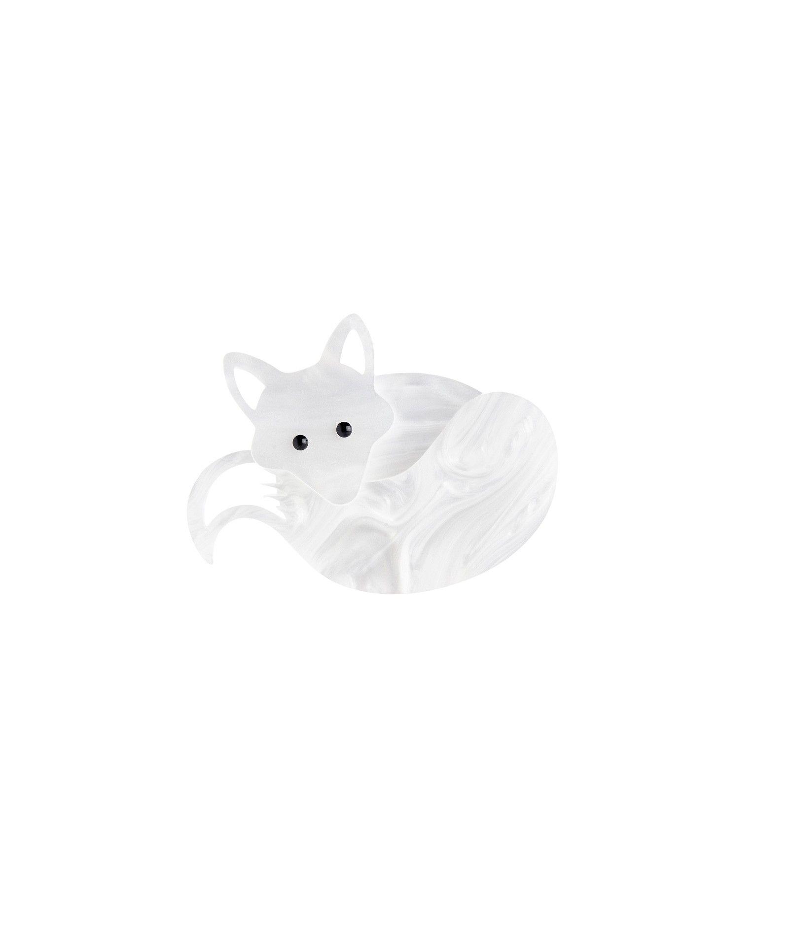 Fox Brooch - White Pearl