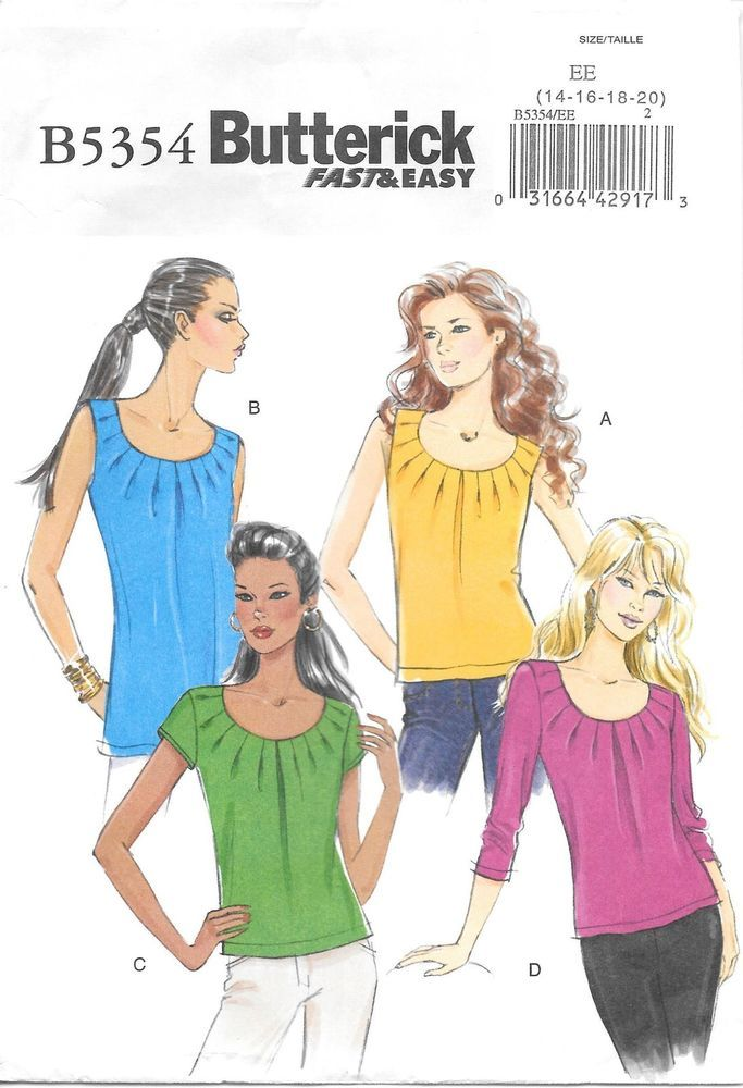 Butterick 5354 Misses Top sewing pattern cut on sz 16 pleated sleeve ...