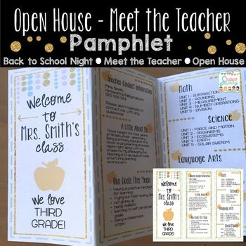 back to school night pamphlet brochure template for parents meet the teacherbest