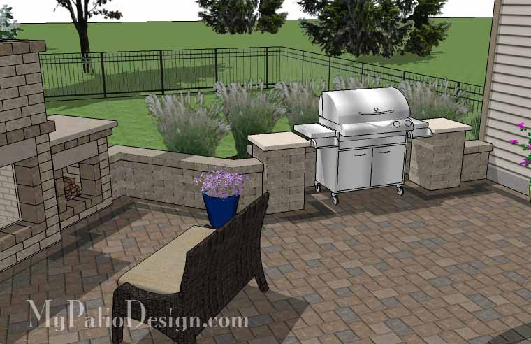 L Shaped Patio Design with Grill Station and Fireplace ... on L Shaped Backyard Layout id=99403