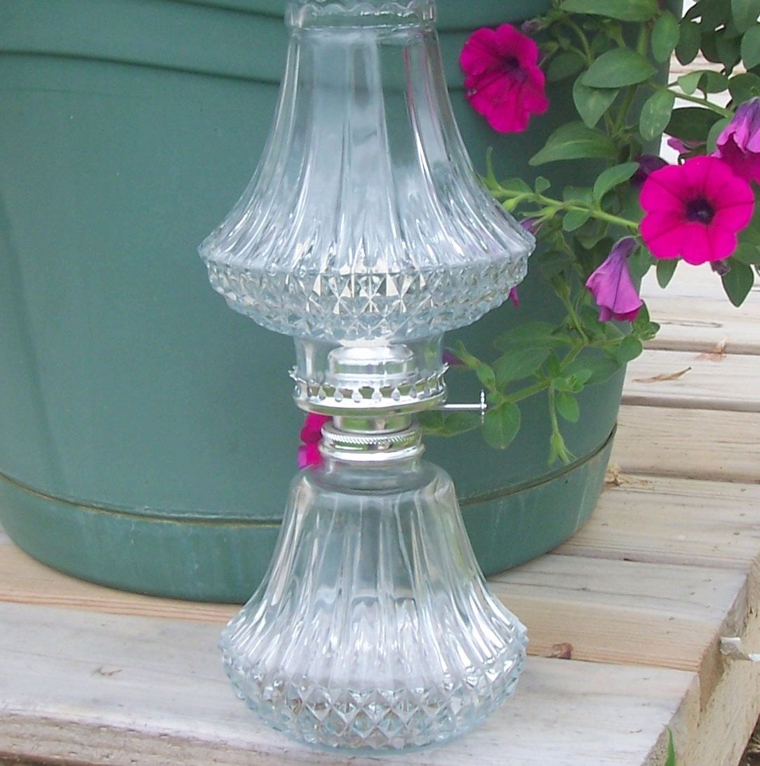 Hobnail+cut+glass+oil+lamp | Crystal Oil Lamp shabby chic weddings ...