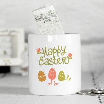 Personalised easter ceramic money box easter day idea personalised easter gifts stunning easter including personalised bunnies chocolate bars and sweets fast uk delivery negle Images