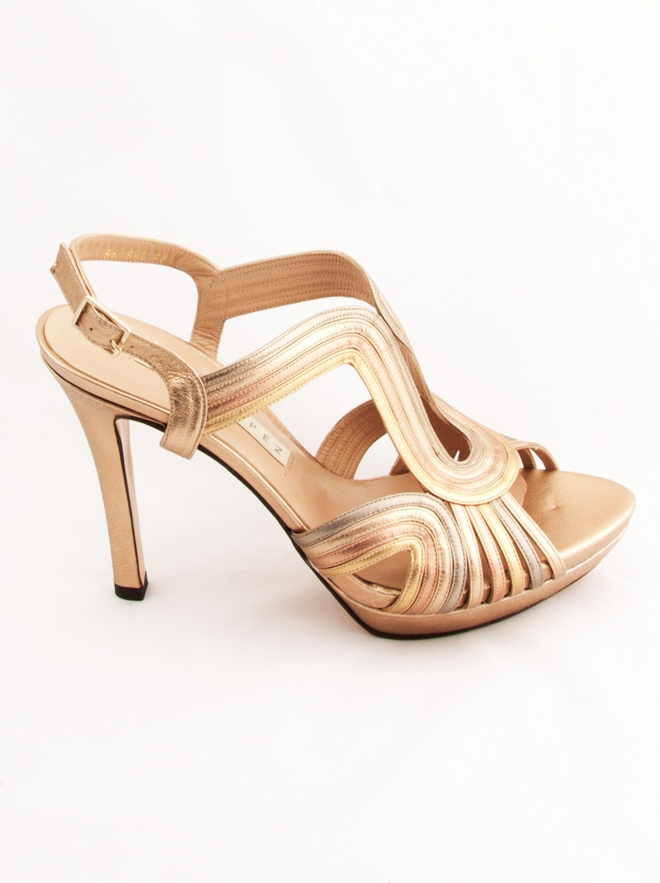 44fe9afb2ca Goodchic.com-Sandalias de Pura López de hondas con plataforma en colores  oro claro